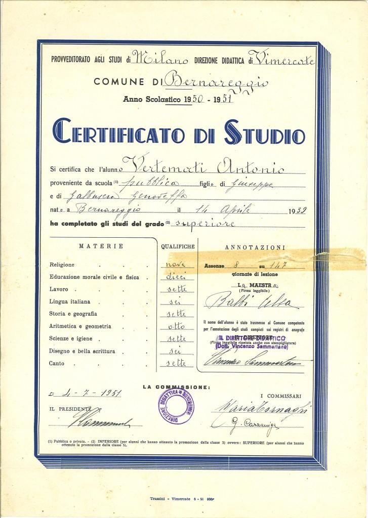 Certificato di studio rilasciato al termine della Scuola Elementare, 1951