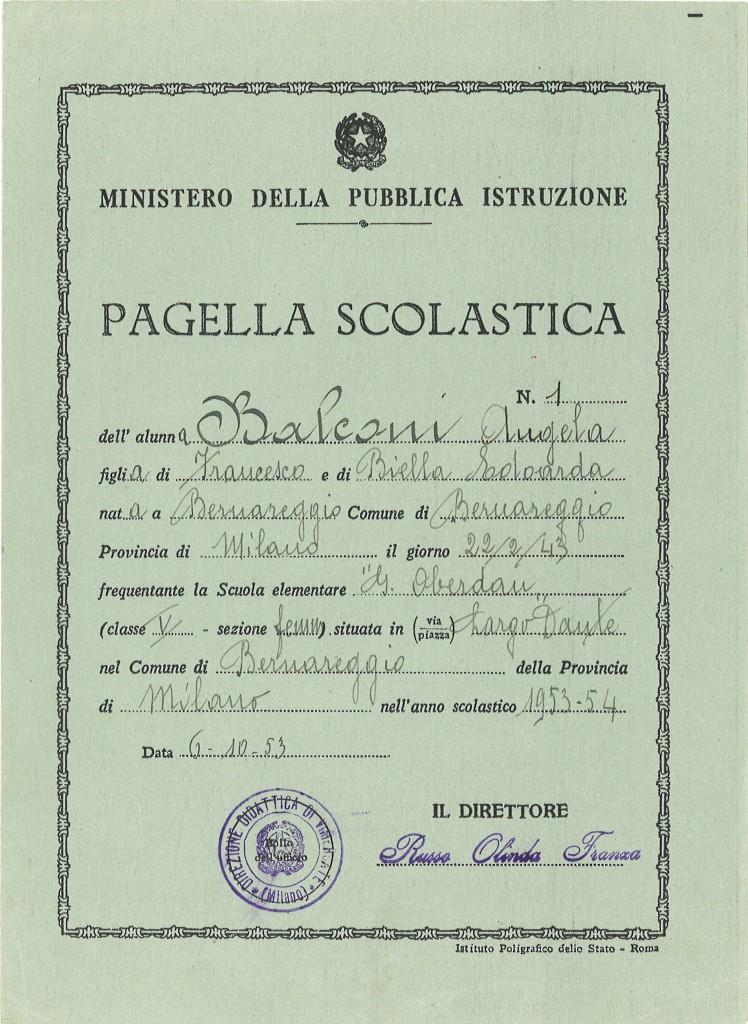 Pagella Scuola Elementare, anno 1953-54, insegnante R. Berra