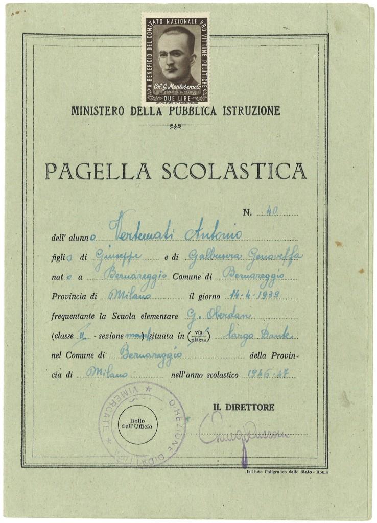 Pagella Scuola Elementare, anno 1946-47, insegnante Gesuina Carzaniga