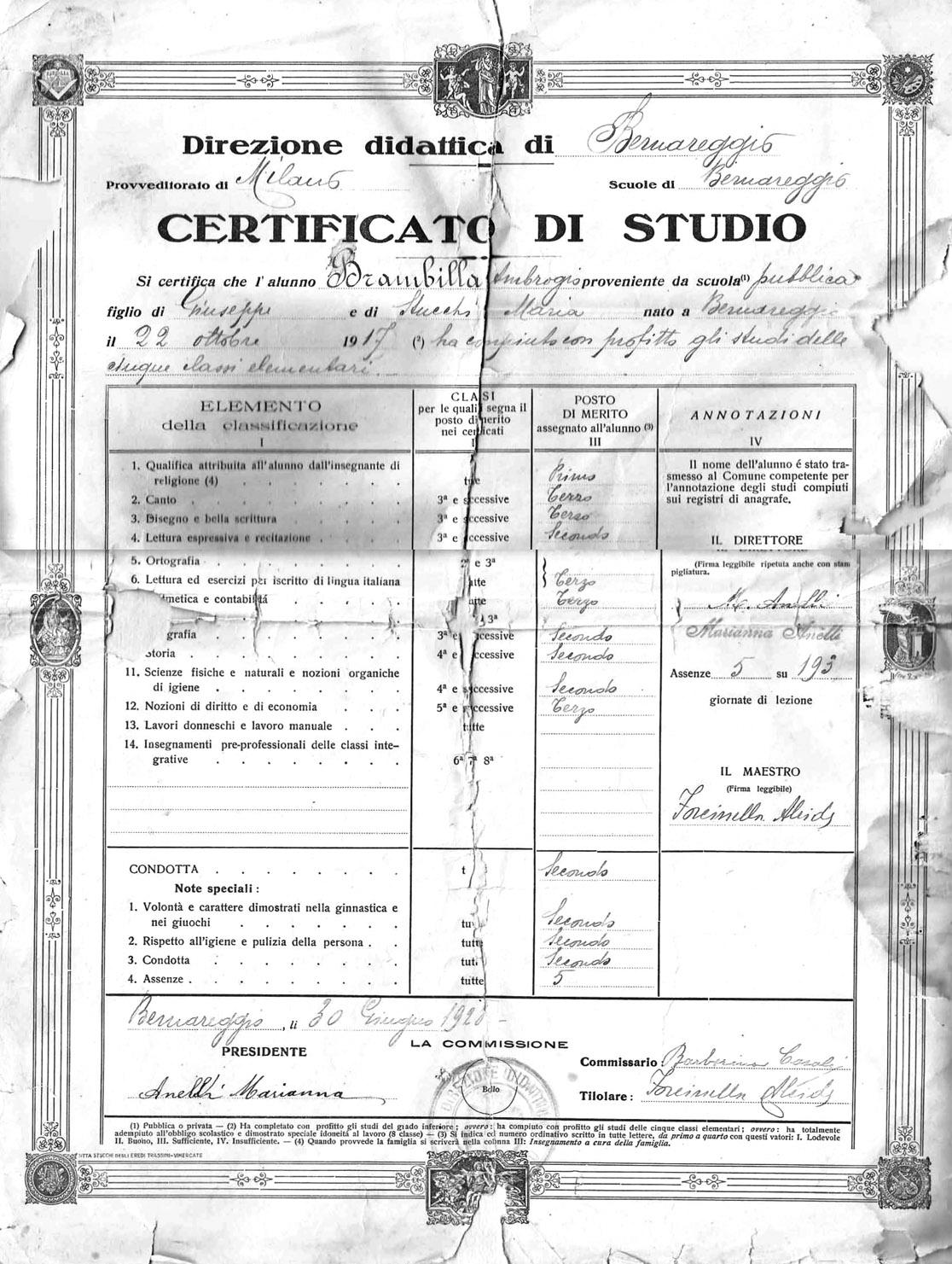 Certificato di studio Scuole Elementari - Anno 1928