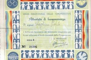 Attestato benemerenza lega naz cooperative per sottoscrizioni maggiori di 100 lire