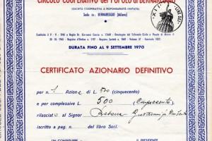 Certificato Azionario Circolo Cooperativo del Popolo Bernareggio
