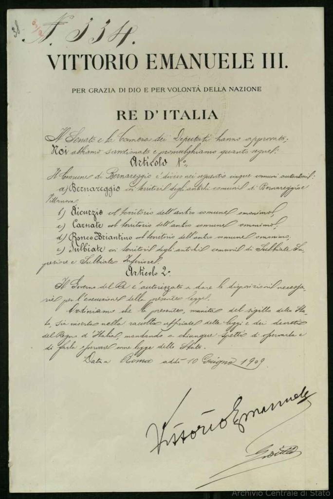 Il documento che sancisce l'autonomia dei Comuni